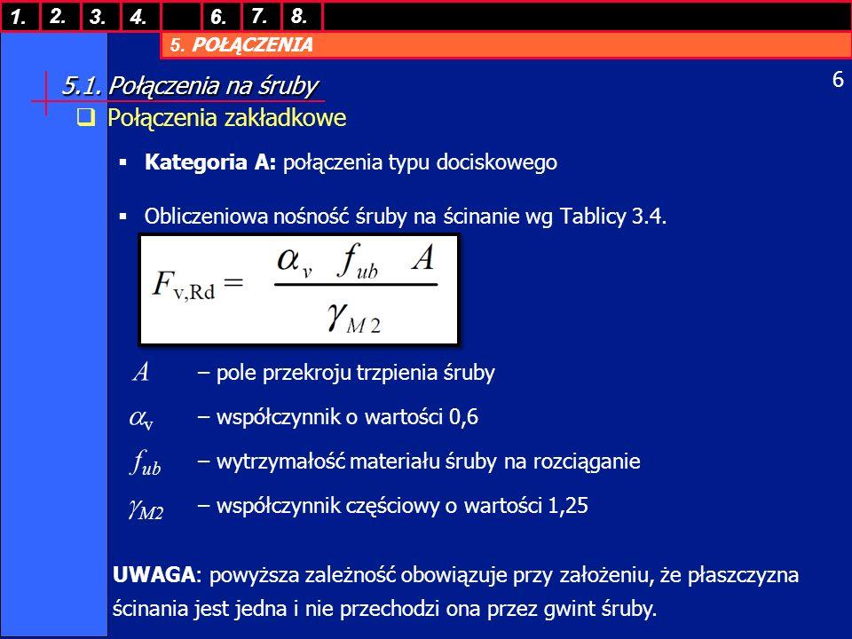 5. POŁĄCZENIA 1. 7. 3.4.6. 8.2. 6 5.1. Połączenia na śruby Połączenia zakładkowe Kategoria A: połączenia typu dociskowego Obliczeniowa nośność śruby n