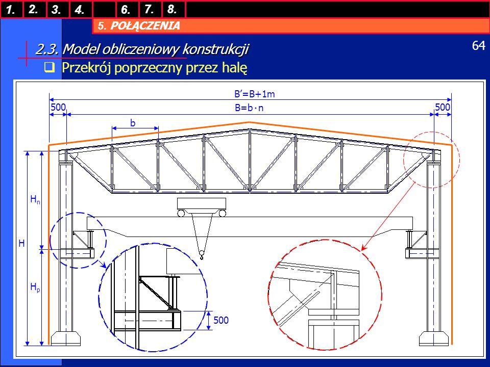 5. POŁĄCZENIA 1. 7. 3.4.6. 8.2. 64 2.3. Model obliczeniowy konstrukcji Przekrój poprzeczny przez halę 500 H HnHn HpHp B=b٠n b B=B+1m 500