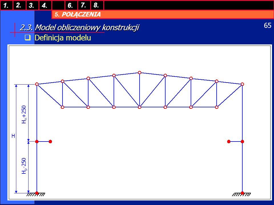 5. POŁĄCZENIA 1. 7. 3.4.6. 8.2. 65 2.3. Model obliczeniowy konstrukcji Definicja modelu H H n +250 H p -250