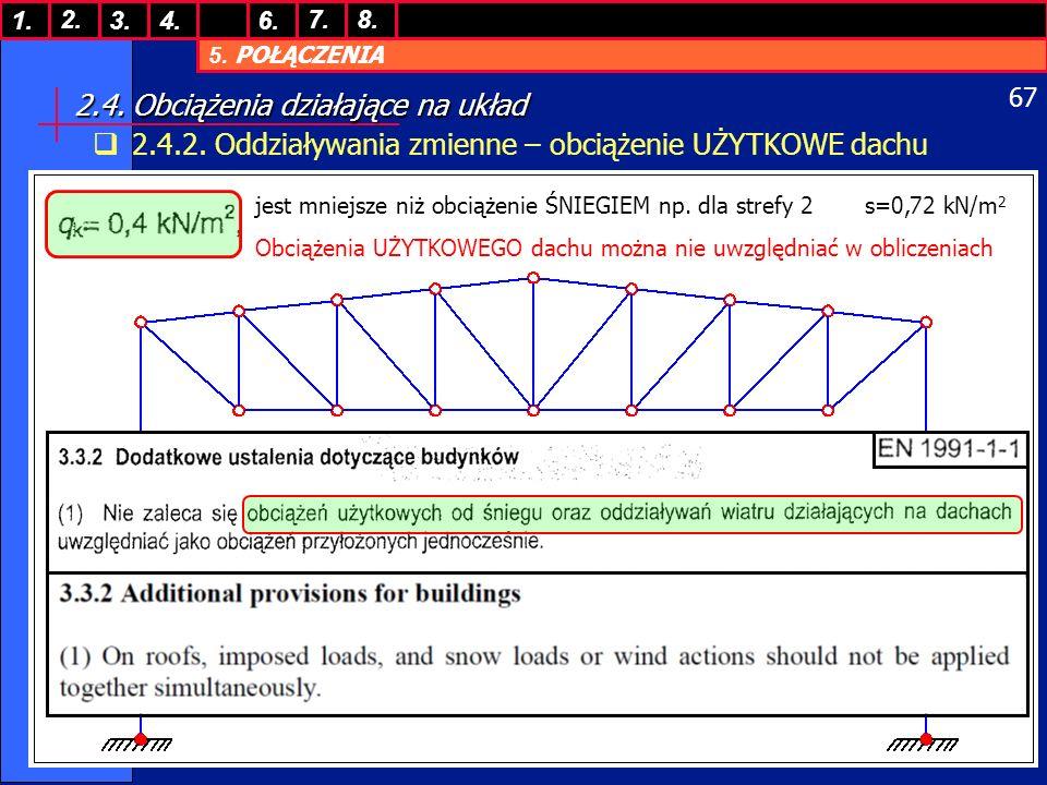 5.POŁĄCZENIA 1. 7. 3.4.6. 8.2. 67 2.4. Obciążenia działające na układ 2.4.2.