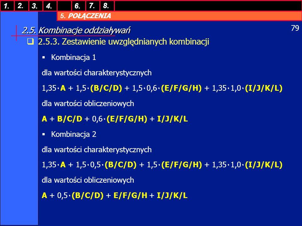 5. POŁĄCZENIA 1. 7. 3.4.6. 8.2. 79 2.5. Kombinacje oddziaływań 2.5.3. Zestawienie uwzględnianych kombinacji Kombinacja 1 dla wartości charakterystyczn