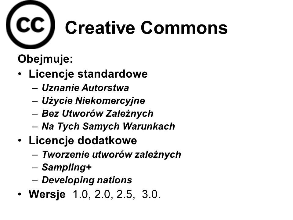 Creative Commons Obejmuje: Licencje standardowe –Uznanie Autorstwa –Użycie Niekomercyjne –Bez Utworów Zależnych –Na Tych Samych Warunkach Licencje dodatkowe –Tworzenie utworów zależnych –Sampling+ –Developing nations Wersje 1.0, 2.0, 2.5, 3.0.