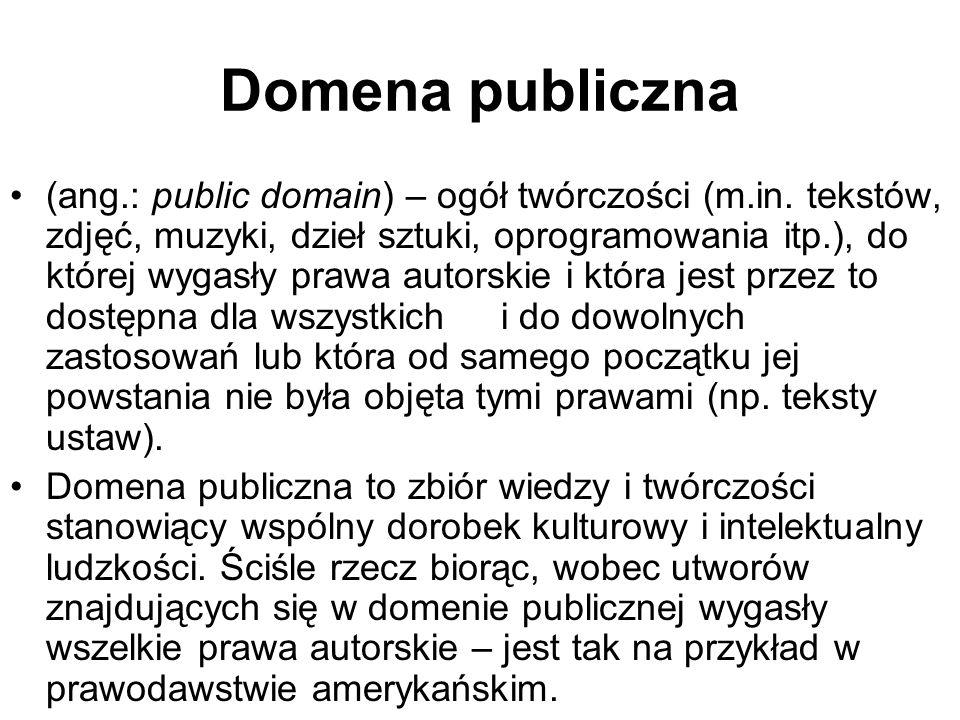 Domena publiczna (ang.: public domain) – ogół twórczości (m.in. tekstów, zdjęć, muzyki, dzieł sztuki, oprogramowania itp.), do której wygasły prawa au