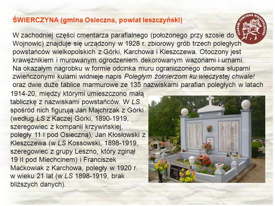 W zachodniej części cmentarza parafialnego (położonego przy szosie do Wojnowic) znajduje się urządzony w 1928 r. zbiorowy grób trzech poległych powsta