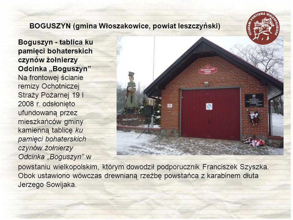 Boguszyn - tablica ku pamięci bohaterskich czynów żołnierzy Odcinka Boguszyn Na frontowej ścianie remizy Ochotniczej Straży Pożarnej 19 I 2008 r. odsł