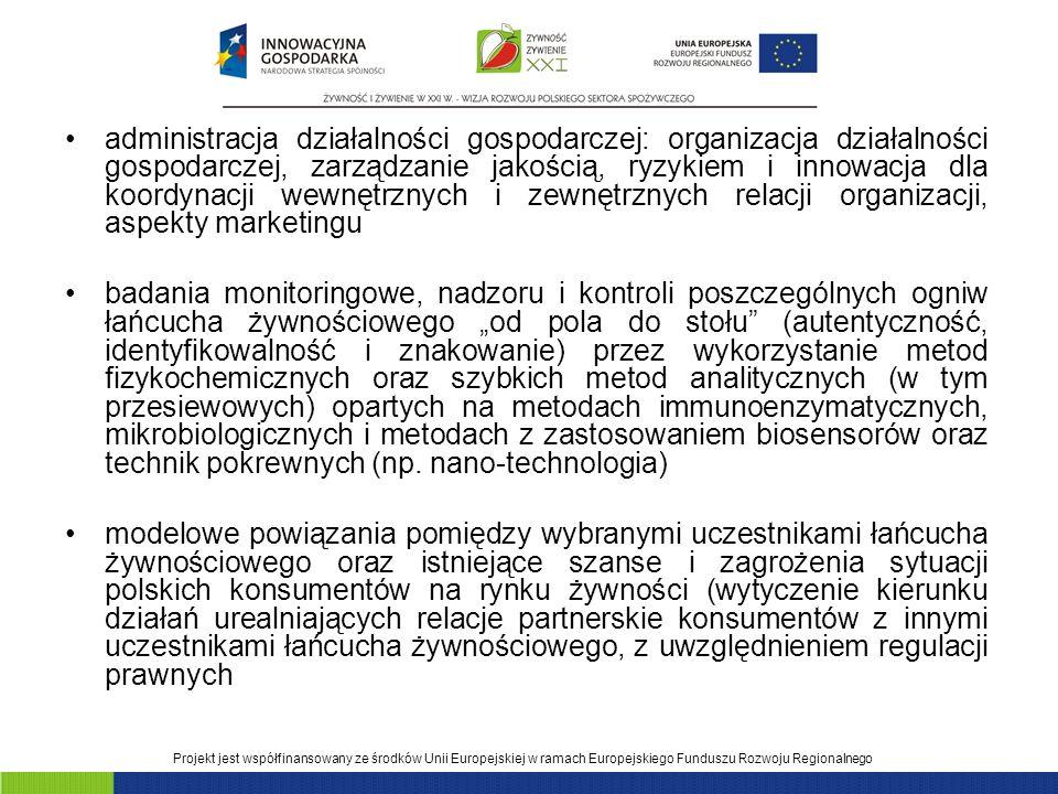 Projekt jest współfinansowany ze środków Unii Europejskiej w ramach Europejskiego Funduszu Rozwoju Regionalnego administracja działalności gospodarczej: organizacja działalności gospodarczej, zarządzanie jakością, ryzykiem i innowacja dla koordynacji wewnętrznych i zewnętrznych relacji organizacji, aspekty marketingu badania monitoringowe, nadzoru i kontroli poszczególnych ogniw łańcucha żywnościowego od pola do stołu (autentyczność, identyfikowalność i znakowanie) przez wykorzystanie metod fizykochemicznych oraz szybkich metod analitycznych (w tym przesiewowych) opartych na metodach immunoenzymatycznych, mikrobiologicznych i metodach z zastosowaniem biosensorów oraz technik pokrewnych (np.