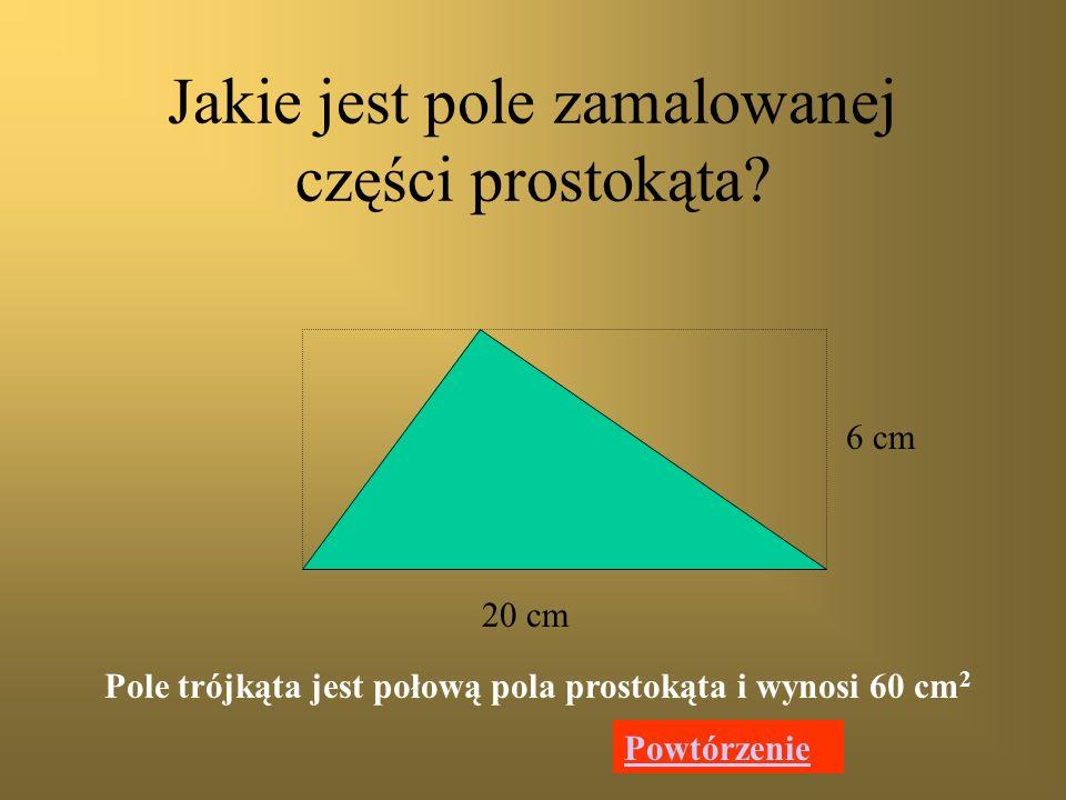 a h Jakim wzorem obliczymy pole trójkąta? Długość podstawy trójkąta = a Wysokość trójkąta = h h a Dalej