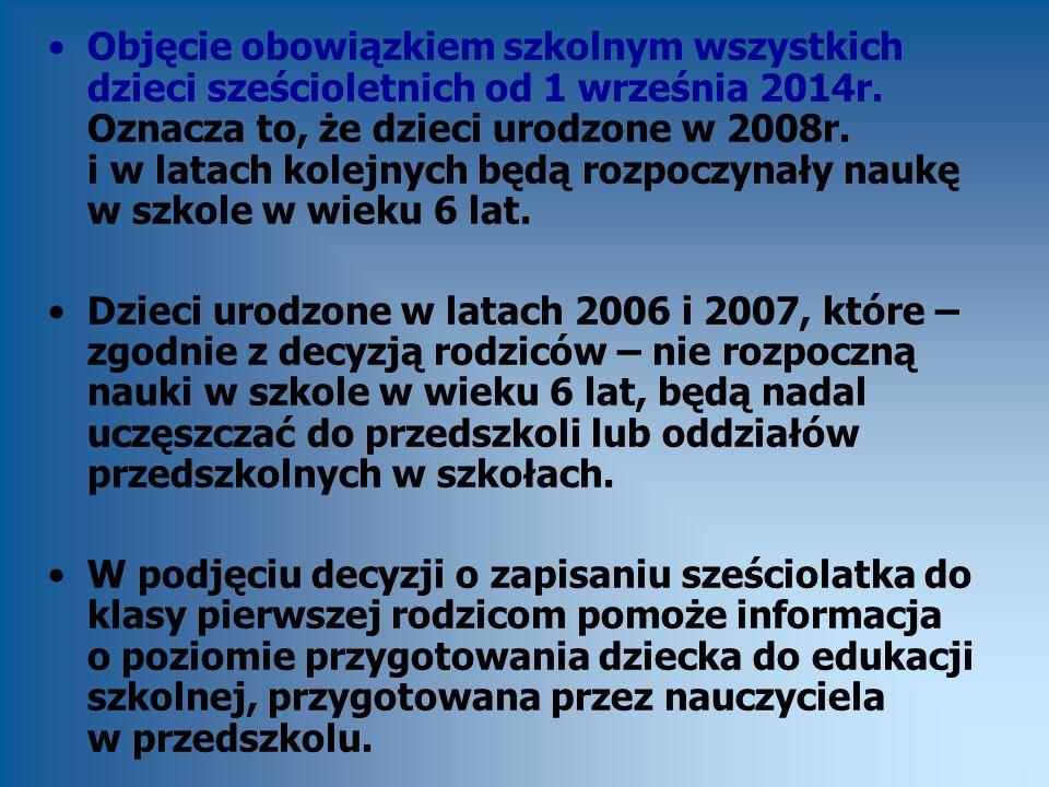 Objęcie obowiązkiem szkolnym wszystkich dzieci sześcioletnich od 1 września 2014r. Oznacza to, że dzieci urodzone w 2008r. i w latach kolejnych będą r