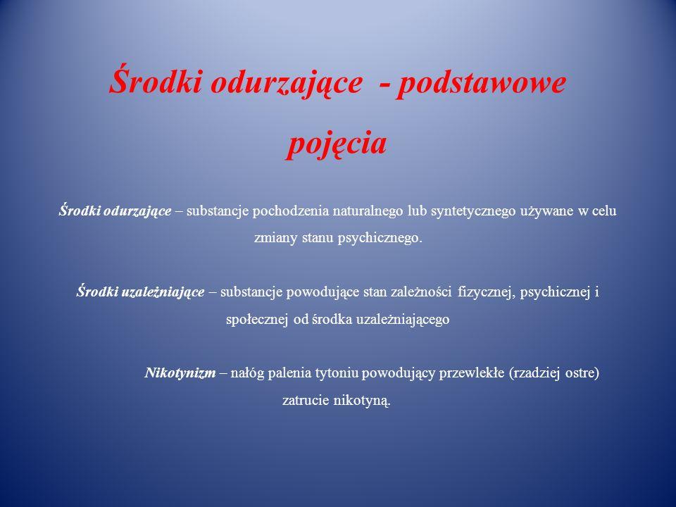 Środki odurzające - podstawowe pojęcia Środki odurzające – substancje pochodzenia naturalnego lub syntetycznego używane w celu zmiany stanu psychiczne