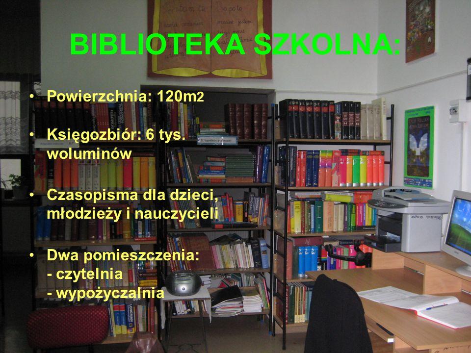 BIBLIOTEKA SZKOLNA: Powierzchnia: 120m 2 Księgozbiór: 6 tys.