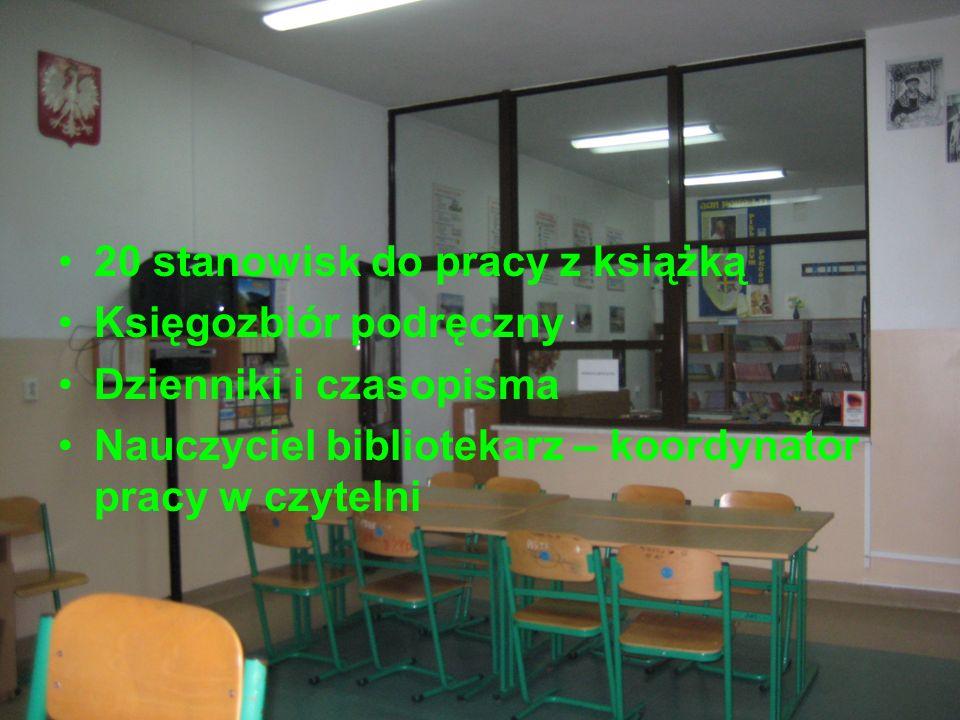 20 stanowisk do pracy z książką Księgozbiór podręczny Dzienniki i czasopisma Nauczyciel bibliotekarz – koordynator pracy w czytelni