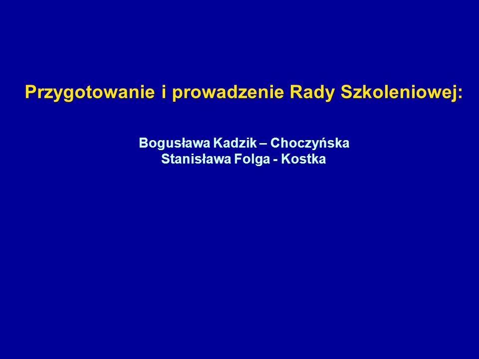 Przygotowanie i prowadzenie Rady Szkoleniowej: Bogusława Kadzik – Choczyńska Stanisława Folga - Kostka