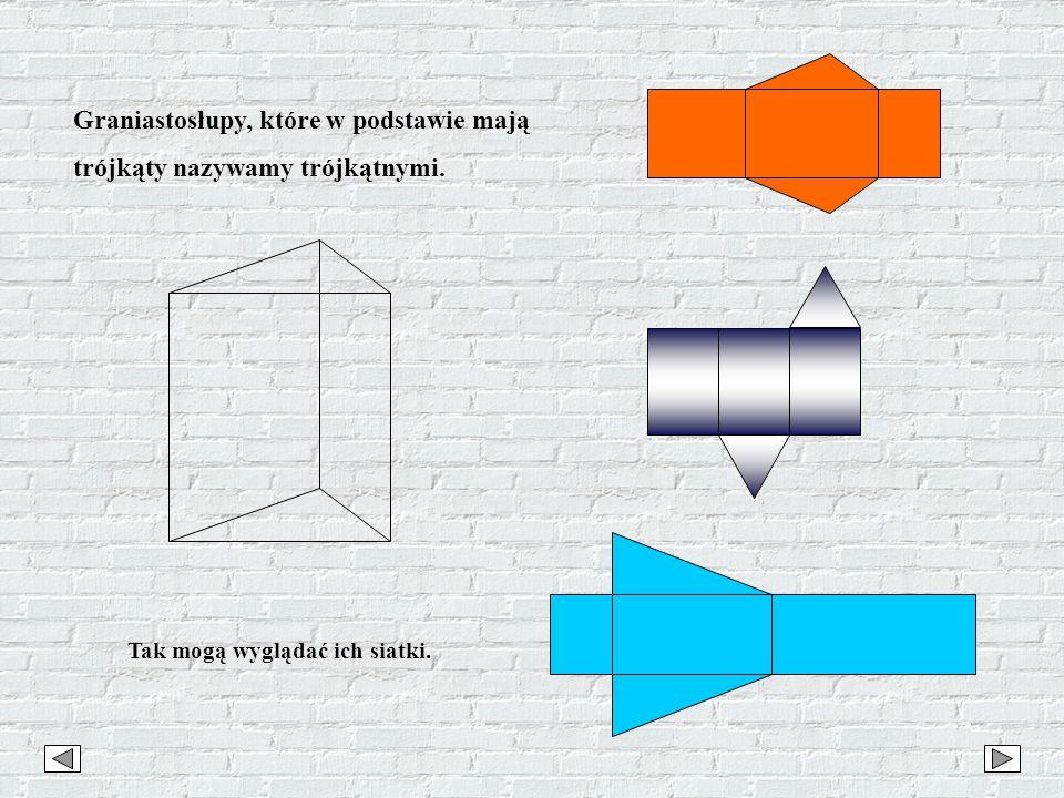 Graniastosłupy, które w podstawie mają trójkąty nazywamy trójkątnymi. Tak mogą wyglądać ich siatki.