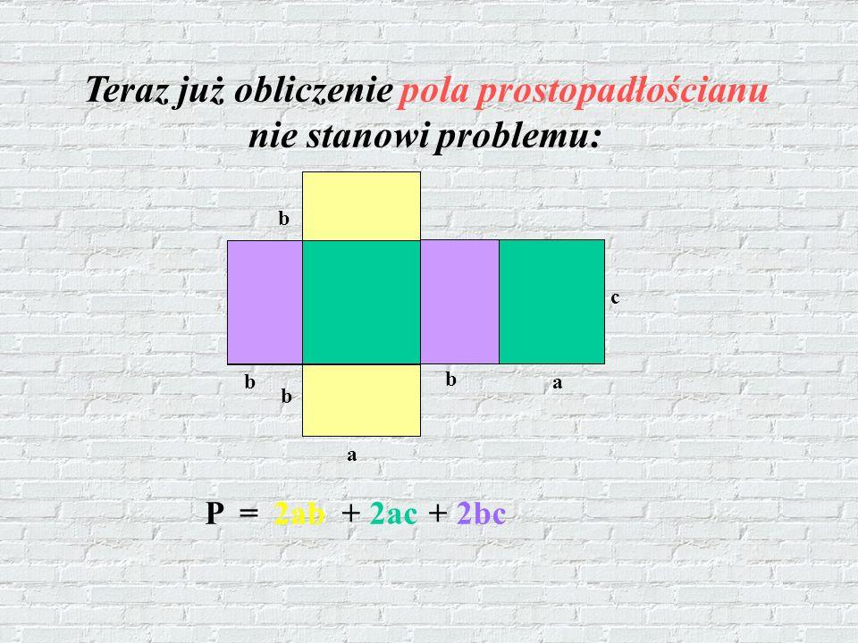 Teraz już obliczenie pola prostopadłościanu nie stanowi problemu: P =2ab+ 2ac+ 2bc b b a b a c b