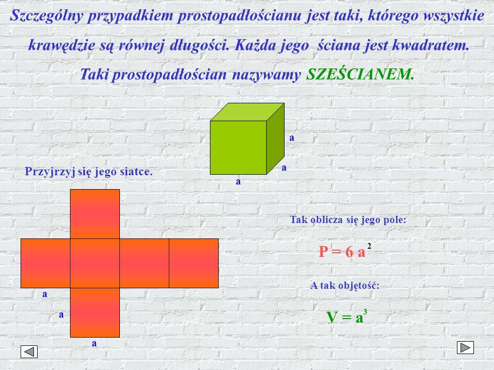 Szczególny przypadkiem prostopadłościanu jest taki, którego wszystkie krawędzie są równej długości. Każda jego ściana jest kwadratem. Taki prostopadło