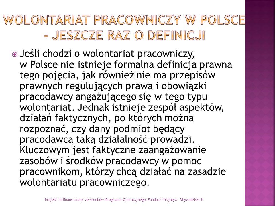 Jeśli chodzi o wolontariat pracowniczy, w Polsce nie istnieje formalna definicja prawna tego pojęcia, jak również nie ma przepisów prawnych regulujących prawa i obowiązki pracodawcy angażującego się w tego typu wolontariat.