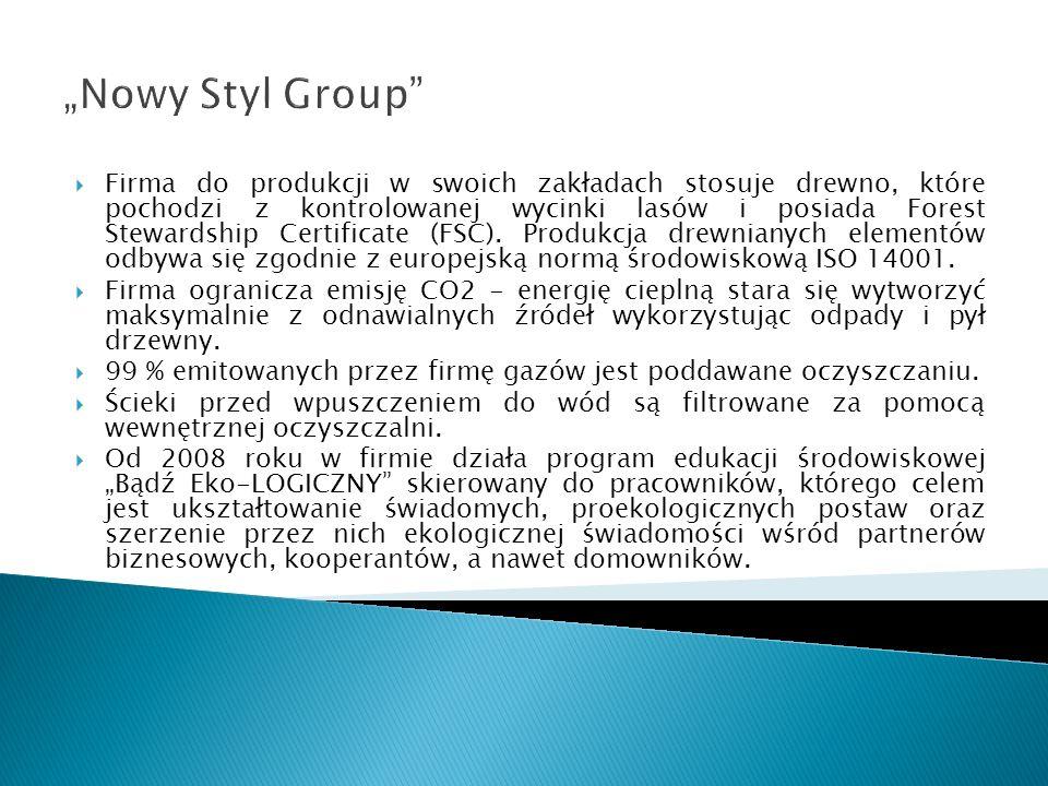 Nowy Styl Group Firma do produkcji w swoich zakładach stosuje drewno, które pochodzi z kontrolowanej wycinki lasów i posiada Forest Stewardship Certif