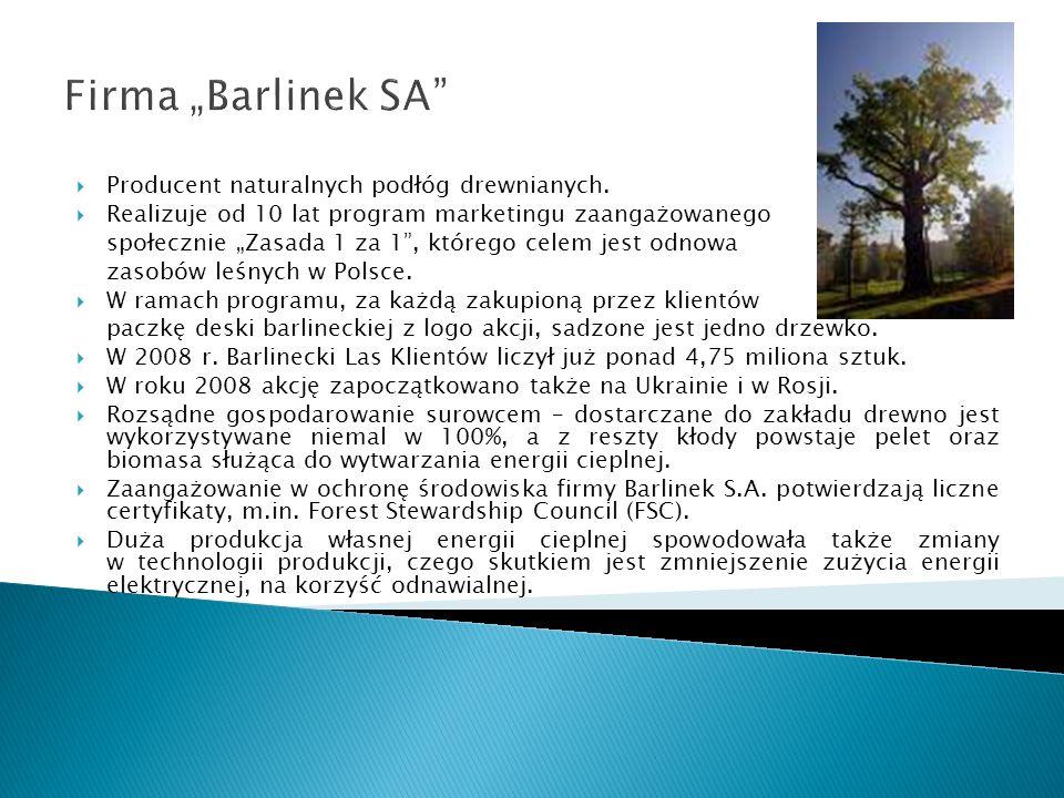 Firma Barlinek SA Producent naturalnych podłóg drewnianych. Realizuje od 10 lat program marketingu zaangażowanego społecznie Zasada 1 za 1, którego ce