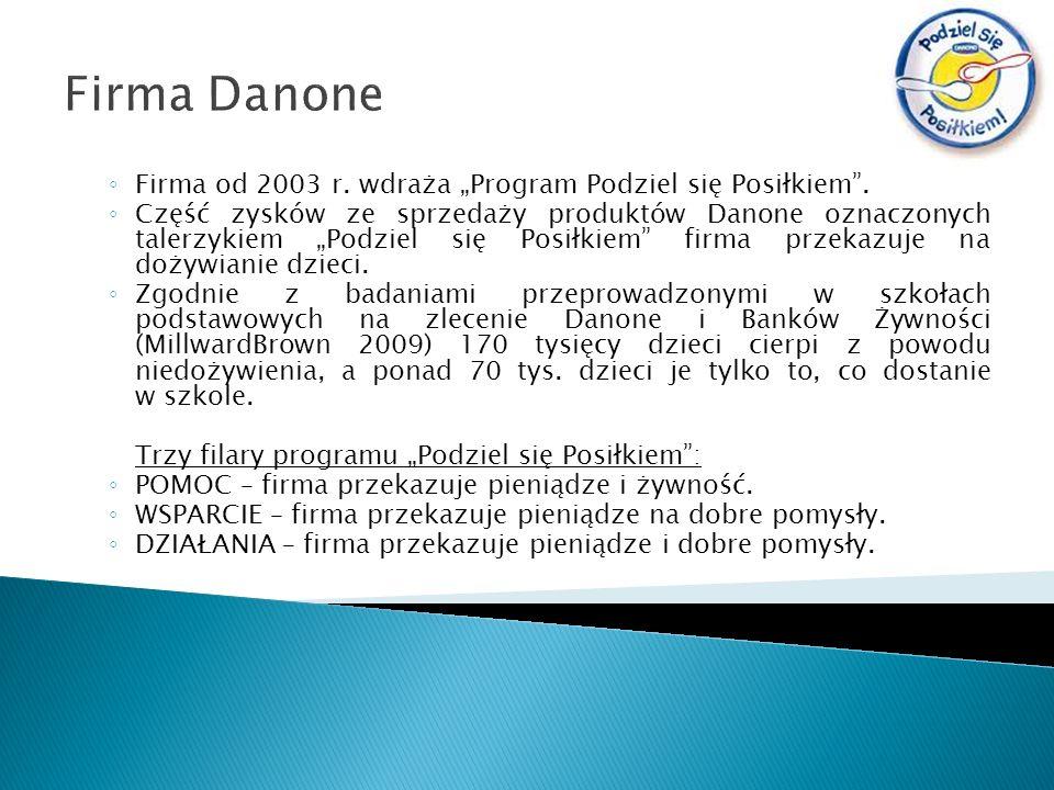 Firma Danone Firma od 2003 r. wdraża Program Podziel się Posiłkiem. Część zysków ze sprzedaży produktów Danone oznaczonych talerzykiem Podziel się Pos