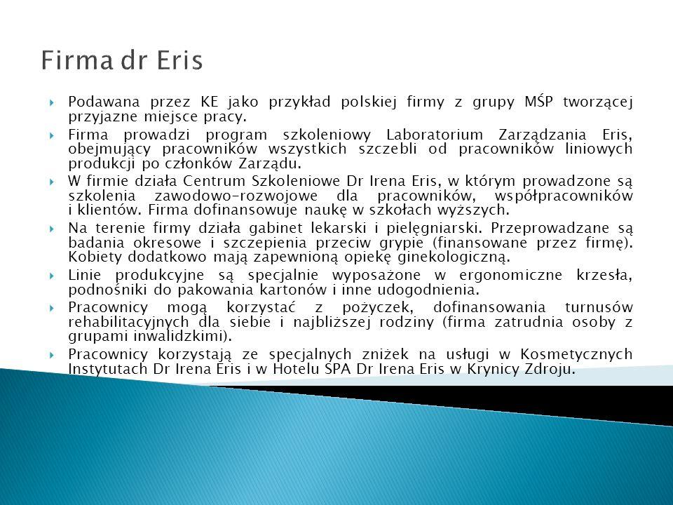 Firma dr Eris Podawana przez KE jako przykład polskiej firmy z grupy MŚP tworzącej przyjazne miejsce pracy. Firma prowadzi program szkoleniowy Laborat