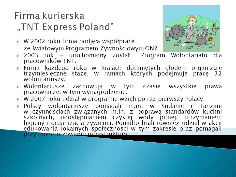 Firma kurierska TNT Express Poland W 2002 roku firma podjęła współpracę ze światowym Programem Żywnościowym ONZ. 2003 rok - uruchomiony został Program
