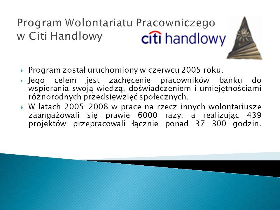 Program Wolontariatu Pracowniczego w Citi Handlowy Program został uruchomiony w czerwcu 2005 roku. Jego celem jest zachęcenie pracowników banku do wsp