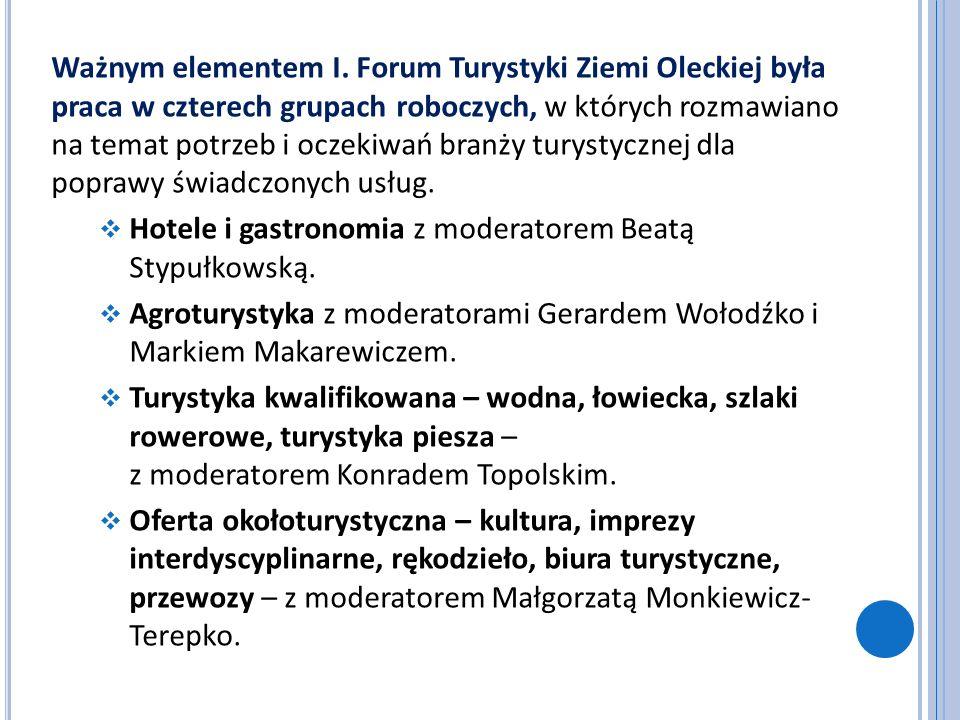 Ważnym elementem I. Forum Turystyki Ziemi Oleckiej była praca w czterech grupach roboczych, w których rozmawiano na temat potrzeb i oczekiwań branży t