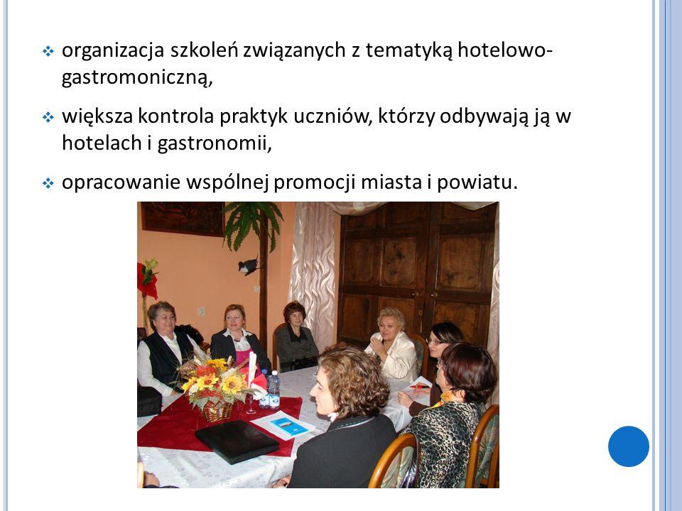organizacja szkoleń związanych z tematyką hotelowo- gastromoniczną, większa kontrola praktyk uczniów, którzy odbywają ją w hotelach i gastronomii, opr