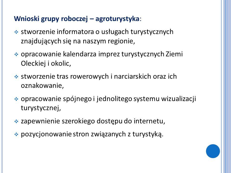 Wnioski grupy roboczej – agroturystyka: stworzenie informatora o usługach turystycznych znajdujących się na naszym regionie, opracowanie kalendarza im