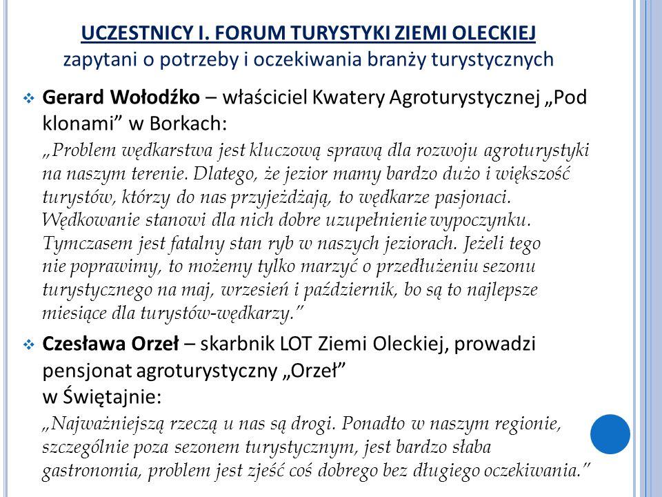 UCZESTNICY I. FORUM TURYSTYKI ZIEMI OLECKIEJ zapytani o potrzeby i oczekiwania branży turystycznych Gerard Wołodźko – właściciel Kwatery Agroturystycz