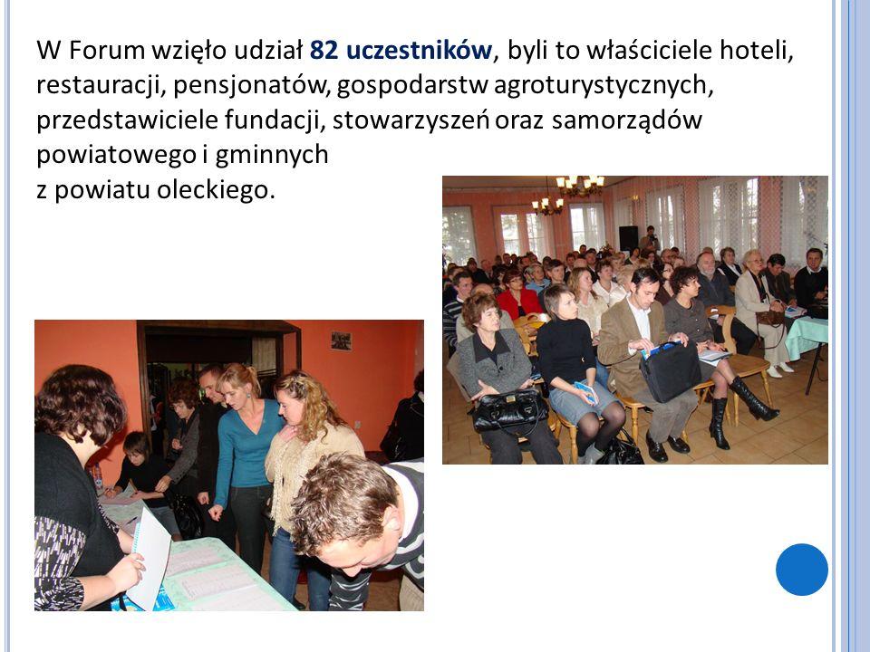 W Forum wzięło udział 82 uczestników, byli to właściciele hoteli, restauracji, pensjonatów, gospodarstw agroturystycznych, przedstawiciele fundacji, s