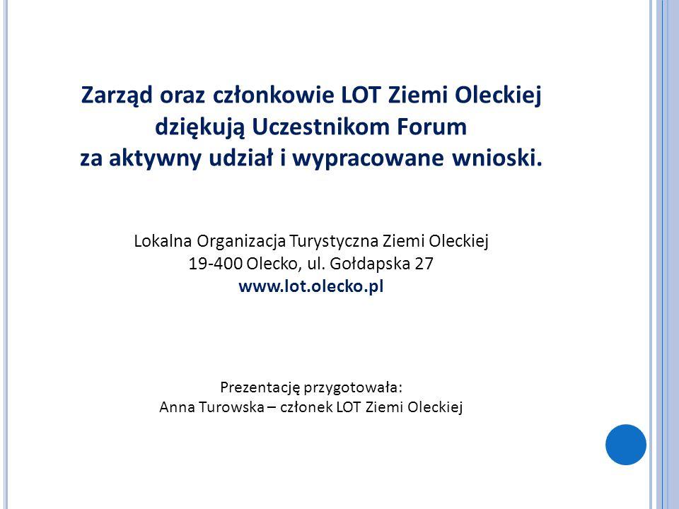 Zarząd oraz członkowie LOT Ziemi Oleckiej dziękują Uczestnikom Forum za aktywny udział i wypracowane wnioski. Lokalna Organizacja Turystyczna Ziemi Ol