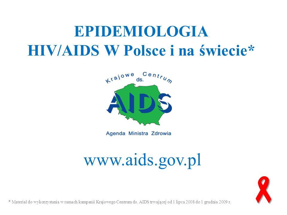 www.aids.gov.pl EPIDEMIOLOGIA HIV/AIDS W Polsce i na świecie* www.aids.gov.pl * Materiał do wykorzystania w ramach kampanii Krajowego Centrum ds. AIDS