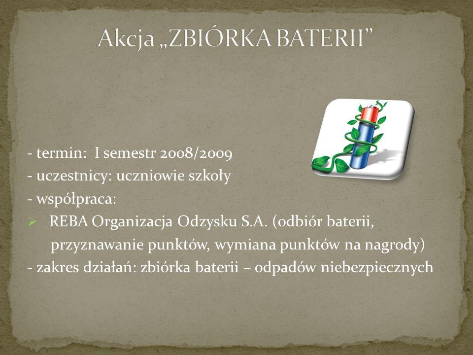 - termin: I semestr 2008/2009 - uczestnicy: uczniowie szkoły - współpraca: REBA Organizacja Odzysku S.A.