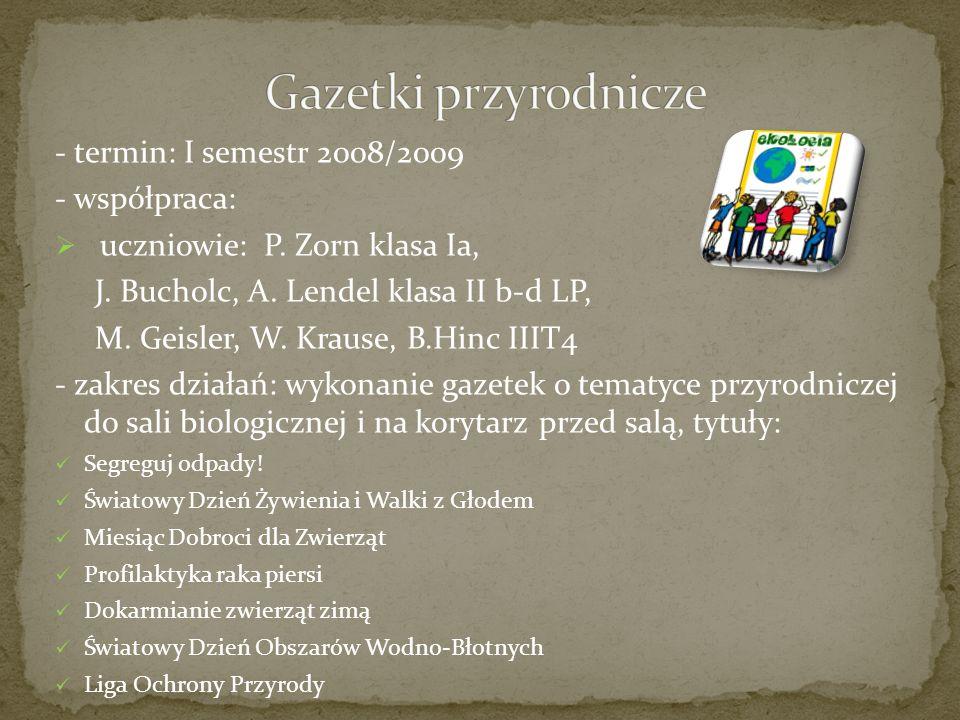 - termin: I semestr 2008/2009 - współpraca: uczniowie: P.