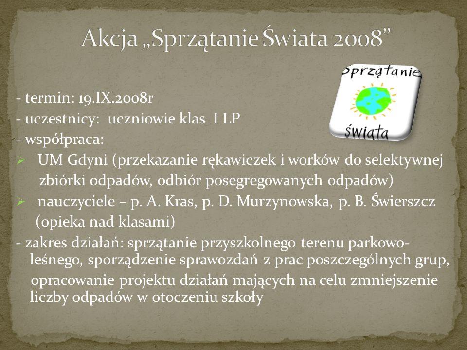 - termin: do końca XI 2008r - uczestnicy: uczniowie szkoły - zakres działań: wykonanie plakatu (format i technika dowolna), tematyka – AIDS - miejsca: I – D.
