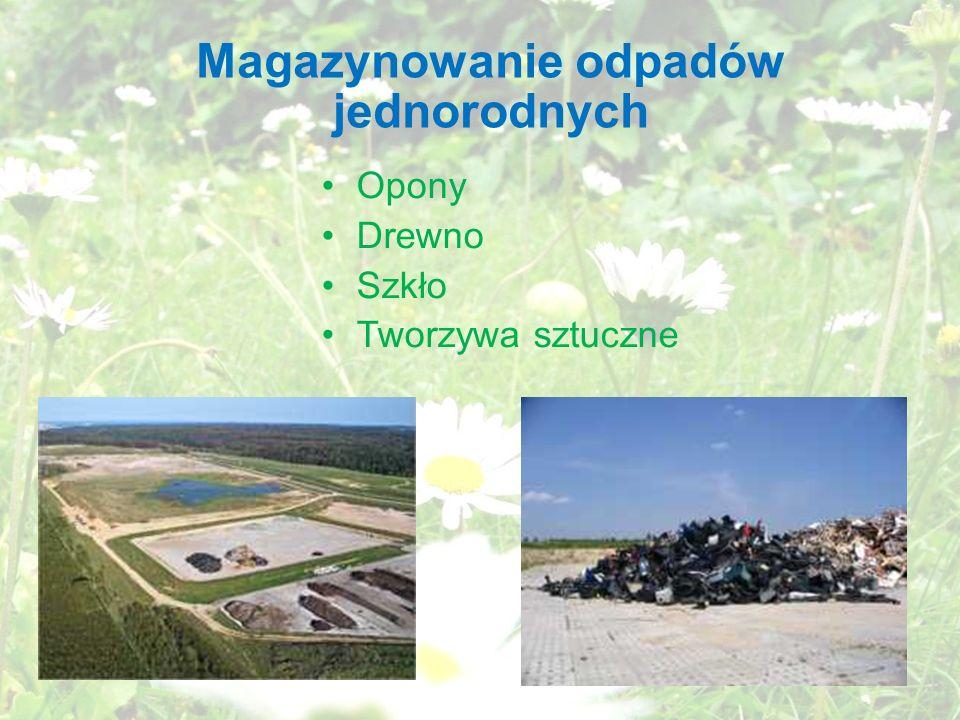 Magazynowanie odpadów jednorodnych Opony Drewno Szkło Tworzywa sztuczne