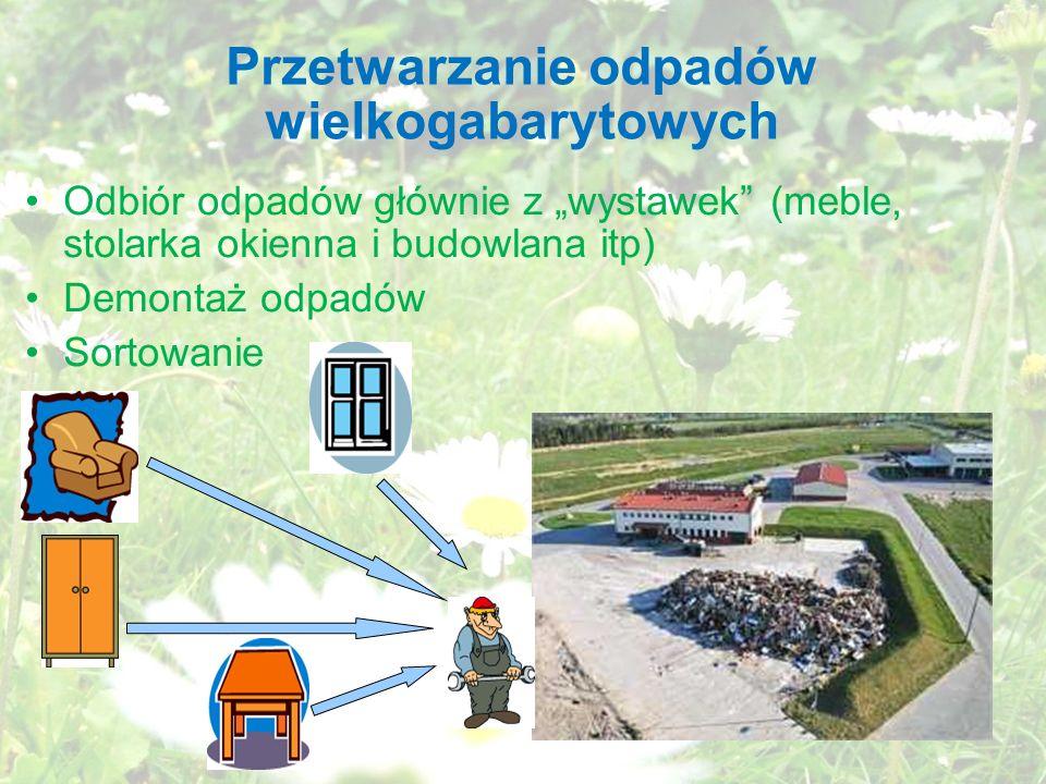 Przetwarzanie odpadów wielkogabarytowych Odbiór odpadów głównie z wystawek (meble, stolarka okienna i budowlana itp) Demontaż odpadów Sortowanie