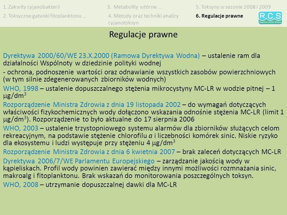 Dyrektywa 2000/60/WE 23.X.2000 (Ramowa Dyrektywa Wodna) – ustalenie ram dla działalności Wspólnoty w dziedzinie polityki wodnej - ochrona, podnoszenie wartości oraz odnawianie wszystkich zasobów powierzchniowych (w tym silnie zdegenerowanych zbiorników wodnych) WHO, 1998 – ustalenie dopuszczalnego stężenia mikrocystyny MC-LR w wodzie pitnej – 1 g/dm 3 Rozporządzenie Ministra Zdrowia z dnia 19 listopada 2002 – do wymagań dotyczących właściwości fizykochemicznych wody dołączono wskazania odnośnie stężenia MC-LR (limit 1 g/dm 3 ).