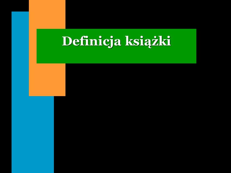 Struktura książki i czasopisma n Książka to zespół treści psychicznych utrwalonych w tekście, elementów materialnych oraz funkcji społecznej, polegającej na oddziaływaniu tych treści na życie umysłowe i społeczne.