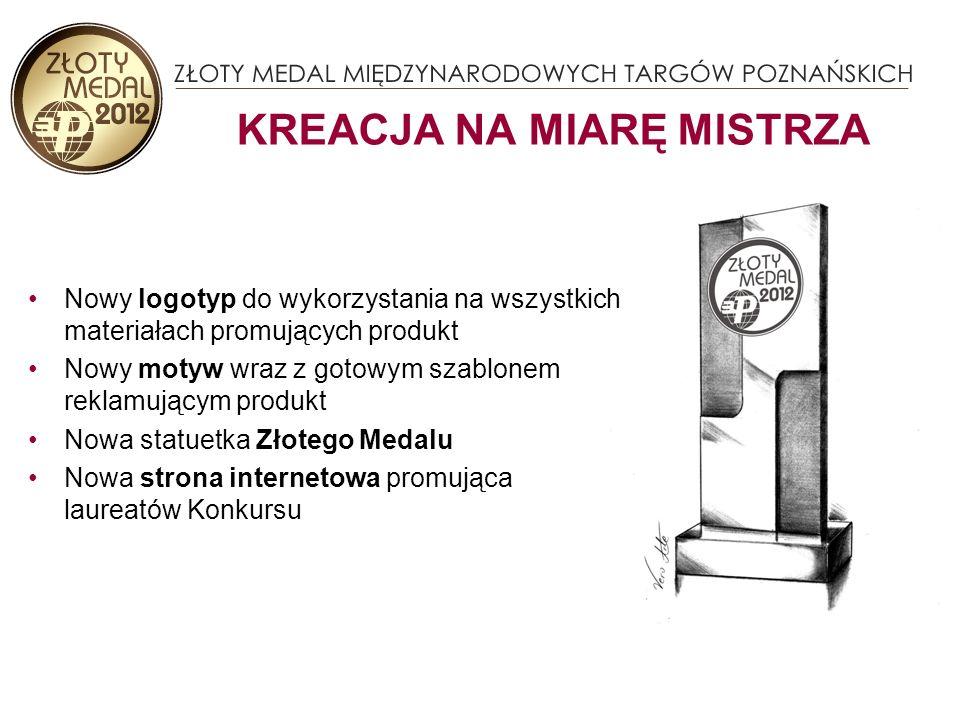 Nowy logotyp do wykorzystania na wszystkich materiałach promujących produkt Nowy motyw wraz z gotowym szablonem reklamującym produkt Nowa statuetka Złotego Medalu Nowa strona internetowa promująca laureatów Konkursu KREACJA NA MIARĘ MISTRZA