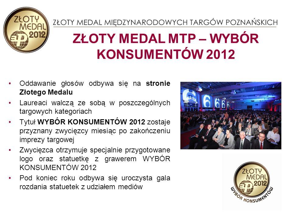 Oddawanie głosów odbywa się na stronie Złotego Medalu Laureaci walczą ze sobą w poszczególnych targowych kategoriach Tytuł WYBÓR KONSUMENTÓW 2012 zostaje przyznany zwycięzcy miesiąc po zakończeniu imprezy targowej Zwycięzca otrzymuje specjalnie przygotowane logo oraz statuetkę z grawerem WYBÓR KONSUMENTÓW 2012 Pod koniec roku odbywa się uroczysta gala rozdania statuetek z udziałem mediów ZŁOTY MEDAL MTP – WYBÓR KONSUMENTÓW 2012