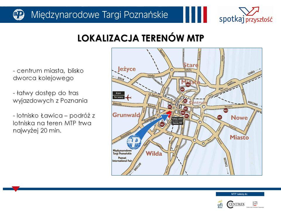 LOKALIZACJA TERENÓW MTP - centrum miasta, blisko dworca kolejowego - łatwy dostęp do tras wyjazdowych z Poznania - lotnisko Ławica – podróż z lotniska na teren MTP trwa najwyżej 20 min.