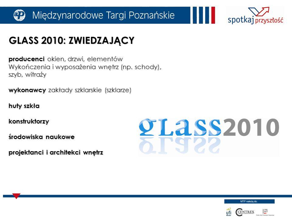 GLASS 2010: ZWIEDZAJĄCY producenci okien, drzwi, elementów Wykończenia i wyposażenia wnętrz (np.