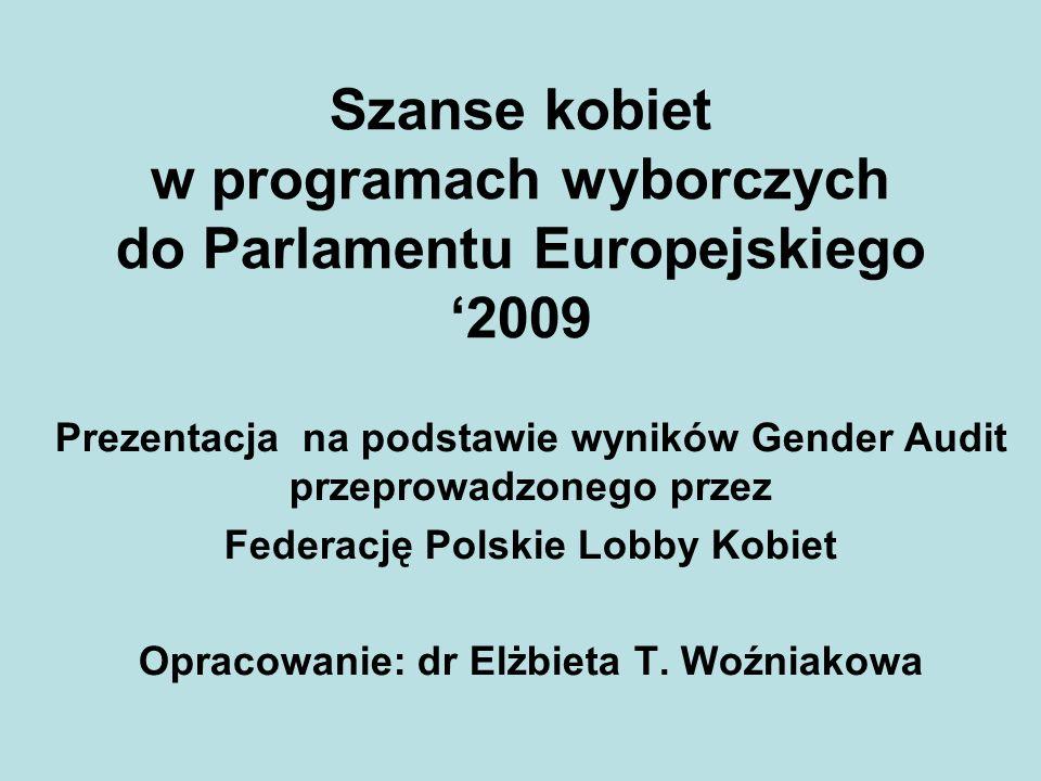 Szanse kobiet w programach wyborczych do Parlamentu Europejskiego 2009 Prezentacja na podstawie wyników Gender Audit przeprowadzonego przez Federację Polskie Lobby Kobiet Opracowanie: dr Elżbieta T.