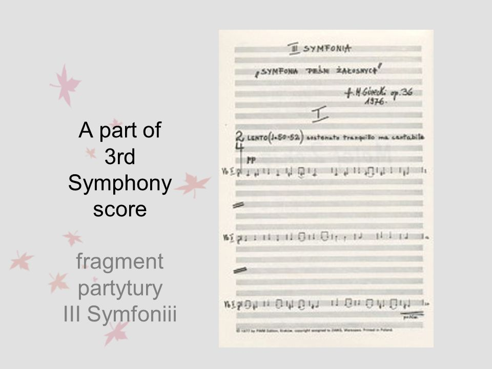 If the style of Górecki s compositions during his first years of studying could be described as vital-explosive with a significant element of post-Bartók moto perpetuo, then by the start of the following decade it had been supplemented by features of post-Webern expressionism - his technical style contains selective usage of serial technique ( free serial technique ).