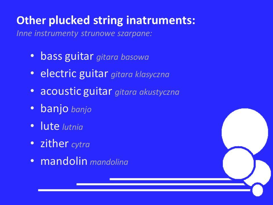Other plucked string inatruments: Inne instrumenty strunowe szarpane: bass guitar gitara basowa electric guitar gitara klasyczna acoustic guitar gitar