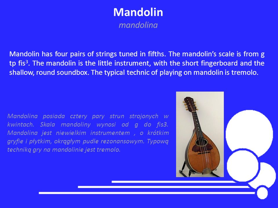 Mandolin mandolina Mandolin has four pairs of strings tuned in fifths. The mandolins scale is from g tp fis 3. The mandolin is the little instrument,