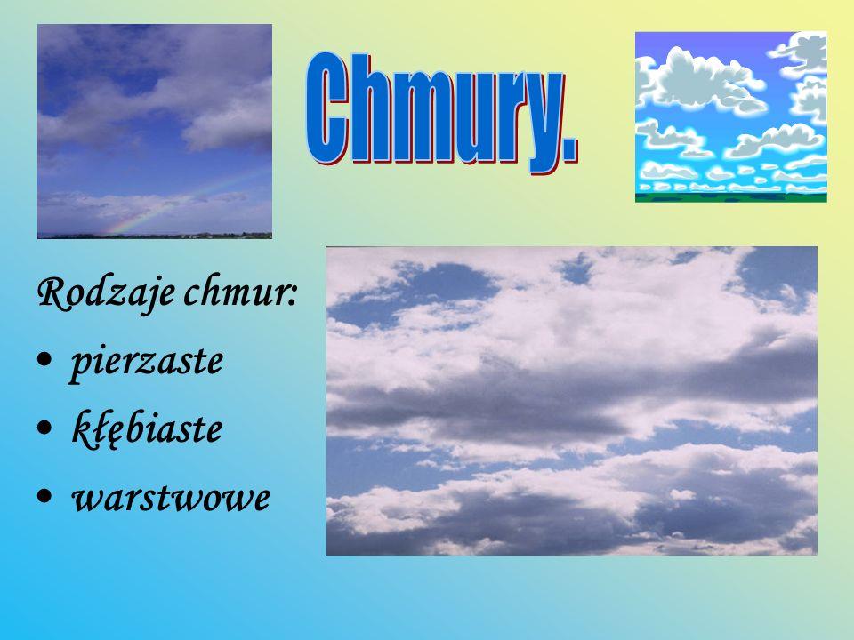 Rodzaje chmur: pierzaste kłębiaste warstwowe