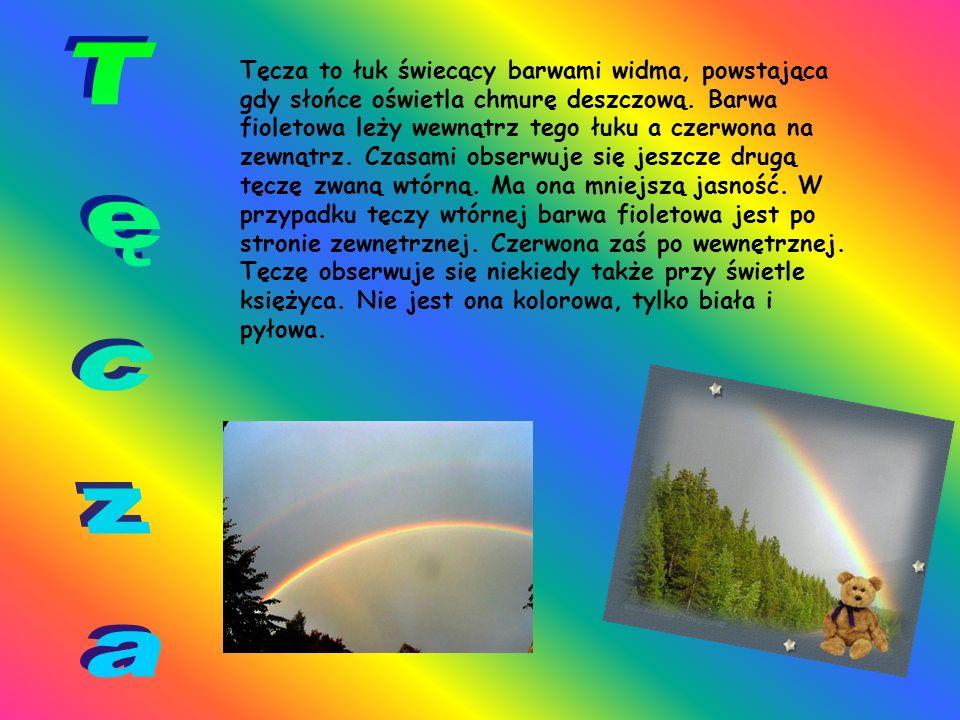 Tęcza to łuk świecący barwami widma, powstająca gdy słońce oświetla chmurę deszczową.